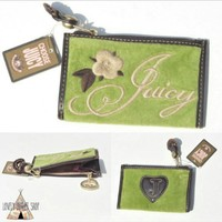 Juicy Couture Velour Green Mini Wallet Coin Purse