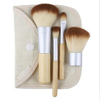 Hot Sale 4PCS Bamboo Handle Makeup Brush Set Cosmetics Kit Powder Blush Make up Brushes styling tools Face care