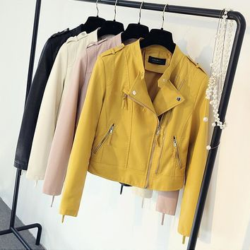 2017 New Women's Spring Autumn Pu Leather Jackets Clothing Lady Slim Fit Yellow pink rice white black Zipper Motorcycle Coat Hot