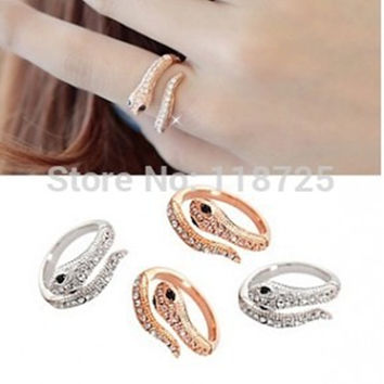 Terreau Kathy R322 R323 The 2016 New Fashion Rhinestone Snake Rings For Women