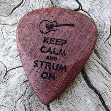 Handmade Purpleheart Premium Wood Guitar Pick -  Laser Engraved - Actual Pick Shown - Engraved Both Sides - Artisan Guitar Pick