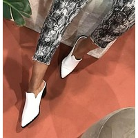 Holly White Pointed Toe Mules