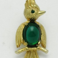 CASTLECLIFF Vintage Emerald Green Glass Belly Bird on Branch Figural Brooch