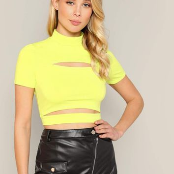 Mock-neck Cut-out Detail Neon Yellow Crop Tee