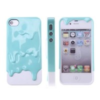 HB 3D Melt Ice Cream Detachable Hard Case Cover for iPhone4 4S (Blue/White)