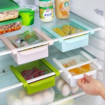 Slide Kitchen Fridge Freezer Storage Box Rack Shelf Holder Space Saver Organizer