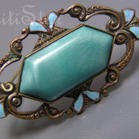 Vintage Nouveau Deco Satin Glass Enamel Czech Pin Brooch