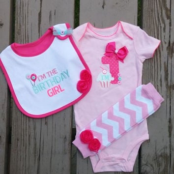 1st Birthday Onesuit - Baby Girl First Birthday Outfit - Bib - Leg Warmers - Pink