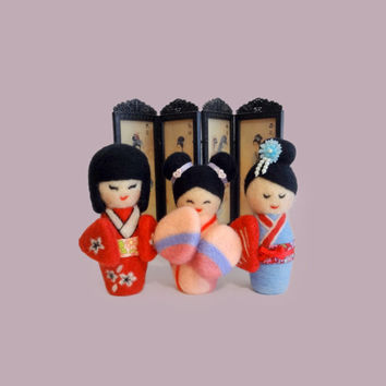 Needle Felted Sculptures - Kokeshi - Japanese doll - こけし- Miniature Wool dolls (Set of 3)