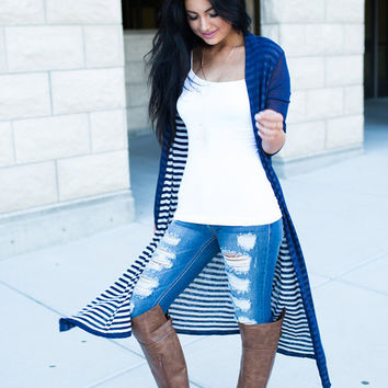 Striped on the Inside, Plain on the Outside Long Cardigan Navy