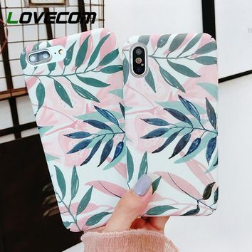 LOVECOM Plants Leaves Print Phone Case For iPhone XS Max XR XS 5 5S SE 6 6S 7 8 Plus X Hard Matte Full Protect Back Cover Cases