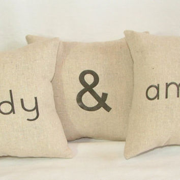 SALE - Three 8x8 Couple's Pillows