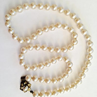 Vintage Miriam Haskell 24 Inch Single Strand Faux Lustrous Pearl Necklace with Pearl Flower Gold Toned Clasp