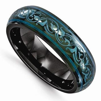 Edward Mirell Black Ti Domed Anodized Teal Ring - 6mm