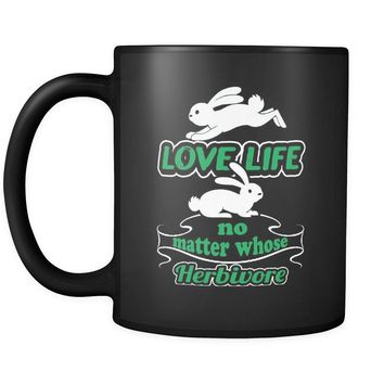 Vegan Vegetarian Mug Love Life No Matter Whose Herbivore 11oz Black Coffee Mugs