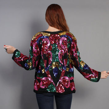 80s SEQUIN Cocktail JACKET / Draped Jewel Tone Silk Cardigan