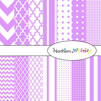 Digital Scrapbooking Paper Set – Lavender Purple in gingham , stripe , chevron , polka dot and quatrefoil patterns INSTANT DOWNLOAD