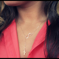 Gold Cross and Infinity Lariat, Cross Lariat, Gold Necklace