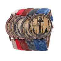 Unisex Style Anchor Quartz Watches With Leather Strap ( 5 colors)