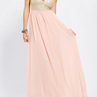 Reverse Sequin-Top Strapless Maxi Dress