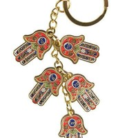 Key Holder- Five Hamsa, 2.5 Cm Hebrew