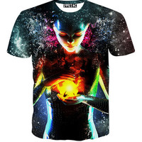 Casual Tops Emoji Weed Galaxy T-Shirt