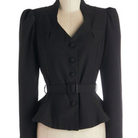 ModCloth Film Noir Short Long Sleeve Reporting Lively Blazer