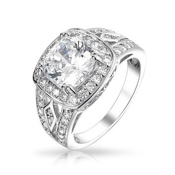 4CT Cushion Cut Solitaire 925 Sterling Silver Halo CZ Engagement Ring