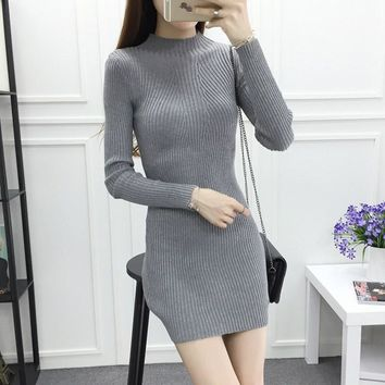 New Autumn Winter Sheath Knitted Short Dress Turtleneck Women Elasticity Long Sleeve Sexy Mini Dress Casual Simple Sweater Dress
