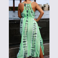 Women's Maxi Dress, Tie Dye Green Dress, summer Dress, cutout dress, beach dress, sun dress