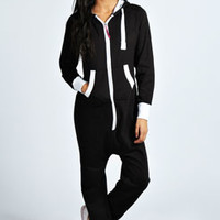Cara Contrast Trim Fleece Lined Hooded Onesuit