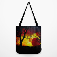 red planet Tote Bag by Haroulita