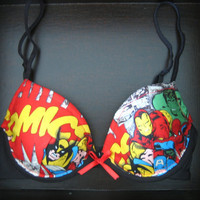 MARVEL-OUS Push-Up  in Black: Black Bra with Marvel Comics Fabric