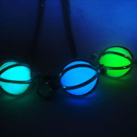 Caged Glow in the Dark Luminous Orb Sphere Stone Necklace Pendant - Final Fantasy Materia