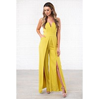 When I Rise Up Double Slit Jumpsuit (Lime)