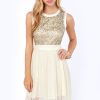 Darling Mandy Cream and Gold Sequin Dress