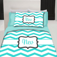 Chevron Monogram Duvet Bedding - Personalized - Twin Size - YOUR COLOR CHOICE
