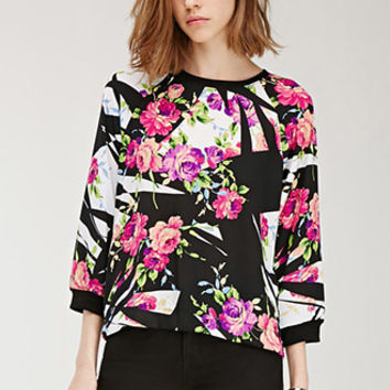 Pop Art Floral Chiffon Top