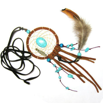 Long Dreamcatcher Necklace with Turquoise Stones - Indian Dreamcatcher - Native American Jewelry