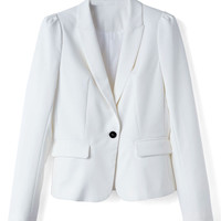 White Singel Button Slim-cut Lapel Blazer