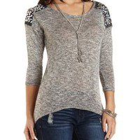 Beaded Shoulder Marled High-Low Top by Charlotte Russe - Black Combo