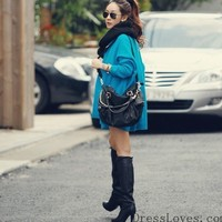 Blue Free Size Women/Girl Loose Bat-wing Sleeves Cardigan/Sweater/Coat@T629b - $15.95 : DressLoves.com.