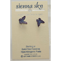 Sienna Sky Purple Folded Butterfly Post Earrings