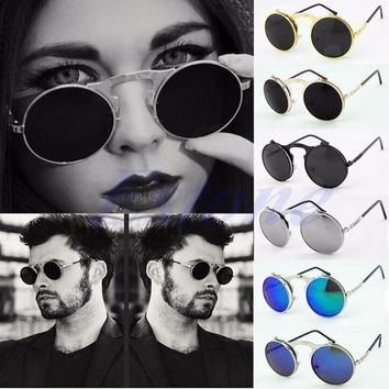 So Real Metal Frame Sunglasses Men Women Brand Designer Retro Vintage Sunglasses Flip Up Round Glasses Famous Brand Sun Glasses