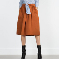 Plain Pleated Zipper Midi Skirt