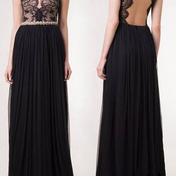 Black Short Sleeve Backless Lace Maxi Dress