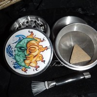 Happy Sun and Moon 4 Piece Herb Grinder Pollen Screen Catcher Scraper from Cognitive Fashioned