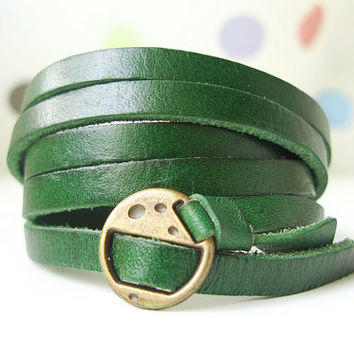 Elegant & Chic Green Leather Wrap Bracelet With by ACuteCute