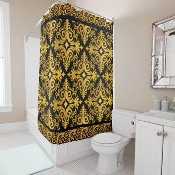 elegant gold and black patterns shower curtain