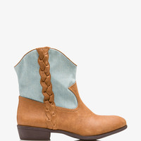 Out West Denim Paneled Booties